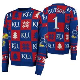 Devon Dotson Kansas Jayhawks Royal Pullover Sweater Patches Ugly