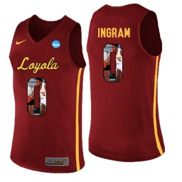 Women's Loyola (Chi) Ramblers #0 Donte Ingram Authentic College Basketball Jersey Red