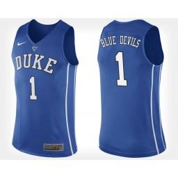 Duke Blue Devils #1 Blue Authentic College Basketball Jersey