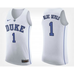 Duke Blue Devils NO. 1 White Road Authentic College Basketball Jersey