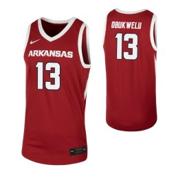 Arkansas Razorbacks #13 Emeka Obukwelu Cardinal Authentic College Basketball Jersey