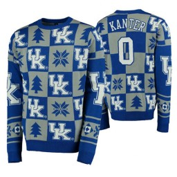 Enes Kanter Kentucky Wildcats Royal Pullover Sweater Patches Ugly