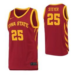 Iowa State Cyclones #25 Eric Steyer Crimson Authentic College Basketball Jersey