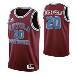 Youth Loyola Marymount Lions #20 Erik Johansson Wine Authentic College Basketball Jersey