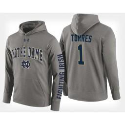 Notre Dame Fighting Irish #1 Austin Torres Gray Hoodie College Basketball