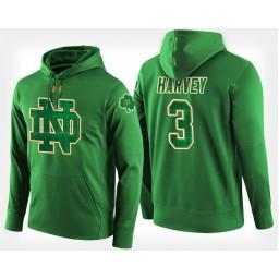 Notre Dame Fighting Irish #3 D.J. Harvey Green St. Patrick's Day Hoodie College Basketball