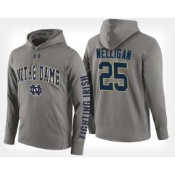 Notre Dame Fighting Irish #25 Liam Nelligan Gray Hoodie College Basketball