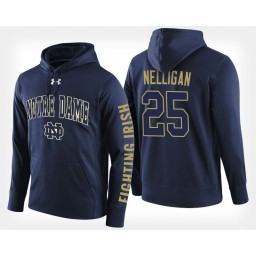 Notre Dame Fighting Irish #25 Liam Nelligan Navy Hoodie College Basketball