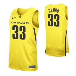Youth Francis Okoro Authentic College Basketball Jersey Yellow Oregon Ducks