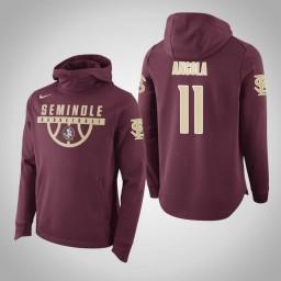 Florida State Seminoles #11 Braian Angola Men's Garnet Elite College Basketball Hoodie