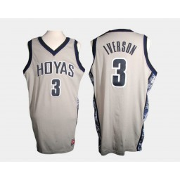 Youth Georgetown Hoyas #3 Allen Iverson Gray Home Authentic College Basketball Jersey