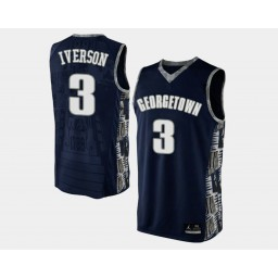 Youth Georgetown Hoyas #3 Allen Iverson Navy Blue Road Authentic College Basketball Jersey
