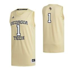 Georgia Tech Yellow Jackets #1 Swingman Basketball Jersey Gold