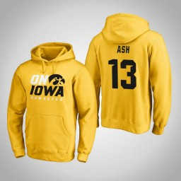 Iowa Hawkeyes #13 Austin Ash Men's Gold Pullover Hoodie