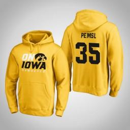 Iowa Hawkeyes #35 Cordell Pemsl Men's Gold Pullover Hoodie
