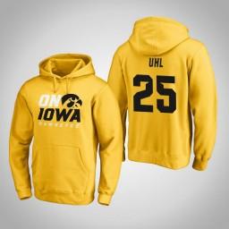 Iowa Hawkeyes #25 Dom Uhl Men's Gold Pullover Hoodie