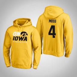 Iowa Hawkeyes #4 Isaiah Moss Men's Gold Pullover Hoodie