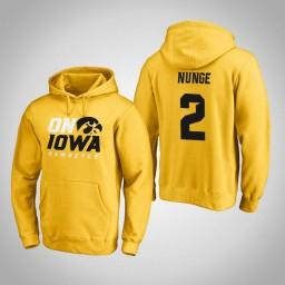 Iowa Hawkeyes #2 Jack Nunge Men's Gold Pullover Hoodie