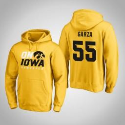Iowa Hawkeyes #55 Luka Garza Men's Gold Pullover Hoodie