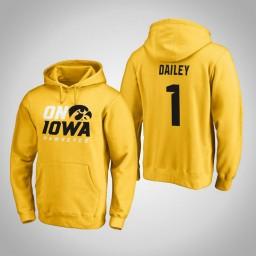 Iowa Hawkeyes #1 Maishe Dailey Men's Gold Pullover Hoodie