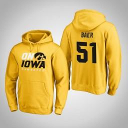 Iowa Hawkeyes #51 Nicholas Baer Men's Gold Pullover Hoodie
