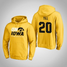 Iowa Hawkeyes #20 Riley Till Men's Gold Pullover Hoodie