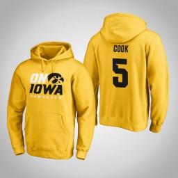 Iowa Hawkeyes #5 Tyler Cook Men's Gold Pullover Hoodie