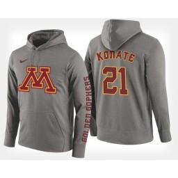 Minnesota Golden Gophers #21 Bakary Konate Gray Hoodie College Basketball