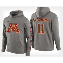Minnesota Golden Gophers #11 Isaiah Washington Gray Hoodie College Basketball