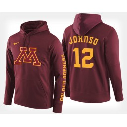 Minnesota Golden Gophers #12 Jarvis Johnson Maroon Hoodie College Basketball