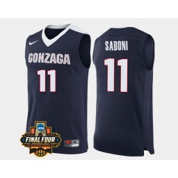 Gonzaga Bulldogs #11 Domantas Saboni Navy Road Authentic College Basketball Jersey
