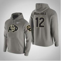 Colorado Buffaloes #12 AJ Martinka Men's Gray Pullover Hoodie