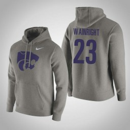 Kansas State Wildcats #23 Amaad Wainright Men's Gray Pullover Hoodie