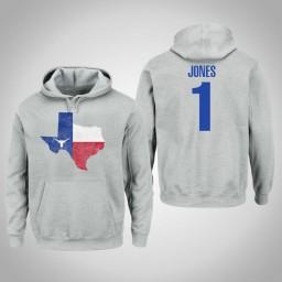 Texas Longhorns #1 Andrew Jones Men's Gray College Basketball Pullover Hoodie