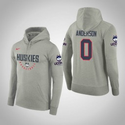 Uconn Huskies #0 Antwoine Anderson Men's Gray College Basketball Hoodie