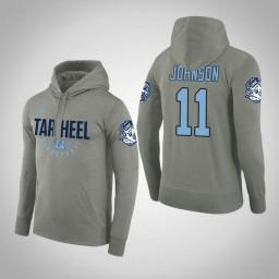 North Carolina Tar Heels #11 Brice Johnson Men's Gray College Basketball Hoodie