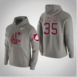 Washington State Cougars #35 Carter Skaggs Men's Gray Pullover Hoodie