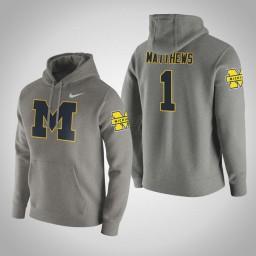 Michigan Wolverines #1 Charles Matthews Men's Gray College Basketball Hoodie