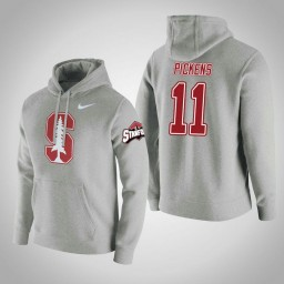 Stanford Cardinal #11 Dorian Pickens Men's Gray College Basketball Hoodie