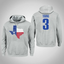 Texas Longhorns #3 Jacob Young Men's Gray College Basketball Pullover Hoodie