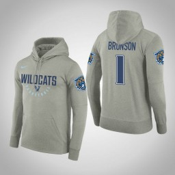 Villanova Wildcats #1 Jalen Brunson Men's Gray College Basketball Hoodie