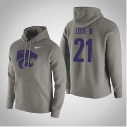 Kansas State Wildcats #21 James Love III Men's Gray Pullover Hoodie