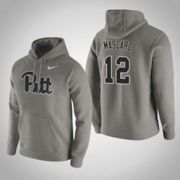 Pittsburgh Panthers #12 Joe Mascaro Men's Gray Pullover Hoodie