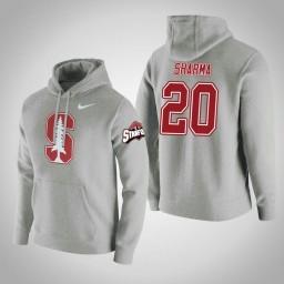 Stanford Cardinal #20 Josh Sharma Men's Gray College Basketball Hoodie