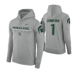 Michigan State Spartans #1 Joshua Langford Men's Gray College Basketball Hoodie