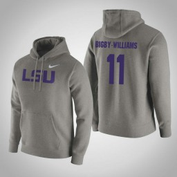 LSU Tigers #11 Kavell Bigby-Williams Men's Gray Pullover Hoodie