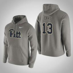 Pittsburgh Panthers #13 Khameron Davis Men's Gray Pullover Hoodie