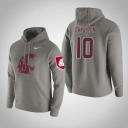 Washington State Cougars #10 KJ Langston Men's Gray Pullover Hoodie