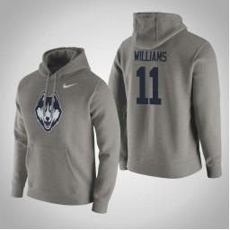 Uconn Huskies #11 Kwintin Williams Men's Gray Pullover Hoodie