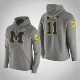 Michigan Wolverines #11 Luke Wilson Men's Gray College Basketball Hoodie